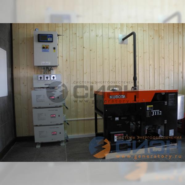 Монтаж в помещении ДГУ Kubota J112 с АВР Tecno Elettra, стабилизаторов напряжения Lider PS 10000 SQ-25