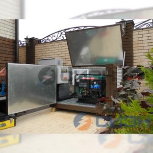 Монтаж бензинового генератора Grandvolt GV8500 в миниконтейнере.