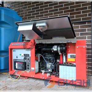 Монтаж генератора Kubota GL9000 с АВР и двумя баками по 500 л
