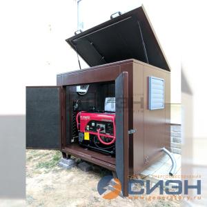 Монтаж бензинового генератора Elemax SH 7600 EX-RS в миниконтейнере (кожухе) - частный дом